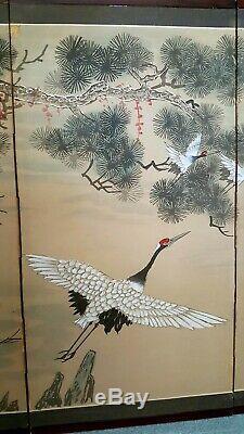 ANTIQUE JAPANESE 8 CRANE 4 PANEL FOLDING SCREEN ORIGINAL PAINTING 35 x 70