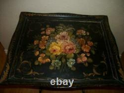 ANTIQUE TOLE FIRE SCREEN TABLE WOOD HAND PAINTED FLORAL 1920's COTTAGE ESTATE