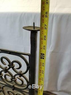 Antique Cast Iron Fire Place Screen Firescreen Candle Interlocking
