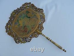 Antique Regency Fan Face Screens Pair Hand Painted Pierced Card Flowers Gilt x 2