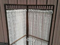 Antique Victorian Oak Dressing Screen Room Divider with Stick & Ball Spindles 1900
