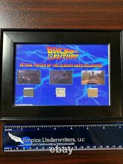 Back to the Future Screen Used Prop -Actual Delorean Pieces Framed BTTF 1,2&3