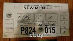 Breaking Bad screen used props rare Walter White Jr's Challenger plates with COA's