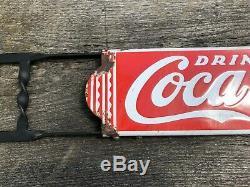 COCA COLA Original 1930s Porcelain Sign Screen Door Push Bar Original Bracket