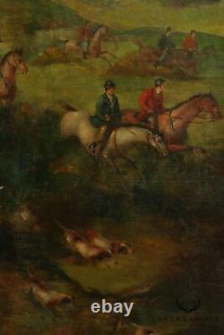 English Hunt Scene Hand Painted 3 Panel Folding Screen