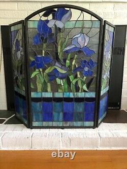 Iris original stained glass fireplace screen 40w x34 H, Victorian Tiffany styl