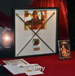 MUMMY Prop Screen-Used ARROWS, Signed ROCK, Mummy COSTUME piece COA, Frame, DVD