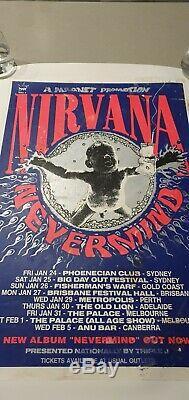 NIRVANA Original 1992 Australian Tour Screen Print Poster Rare Kurt Cobain