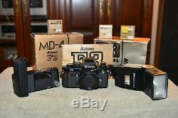 Nikon F3 HP MD4 Drive SB 16 Flash Focusing Screens with Original Boxes & Manual