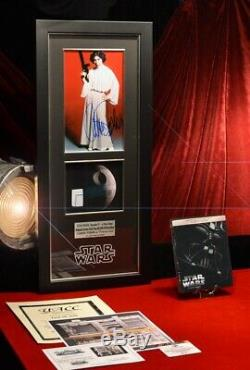 RARE Screen-Used Prop DEATH STAR, Signed CARRIE FISHER Star Wars COA, DVD, Frame