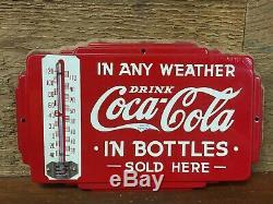 RARE Vintage Original 1930s Coca Cola Advertising Thermometer Screen Door Sign