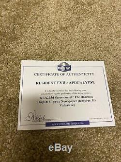 Resident Evil Apocalypse Newspaper Framed Screen Used Prop COA