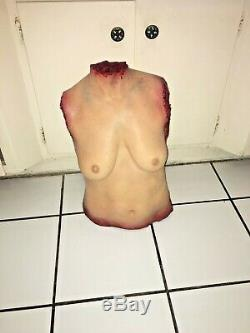 Screen used DECAPITATED GRUESOME BUSTY TORSO. Latex foam. GORY. Halloween prop
