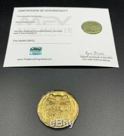 The Hobbit 2012 Screen Used Prop Metal Treasure Gold Coin With COA