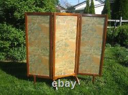 Vintage 3 Part Room Divider Screen maple all original 1950's mid century