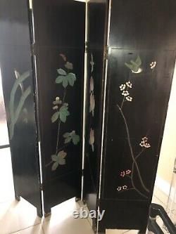 Vintage Chinese Room Divider Screen Hand Carved Wood 4 Panel