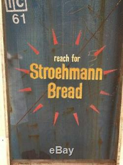 Vintage Original Reach For Stroehman Bread Screen Door Sign Country Store