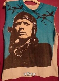 Vintage Punk Sleeveless Unisex T-shirt Screen Printed Ww2 Fighter Pilot 42 Rare