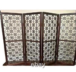 Vintage Room Divider Screen Folding 1800s Korean Wood Antique Decorative Panels