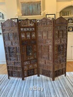 Vintage Wooden Hand Carved Room Divider Privacy Screen