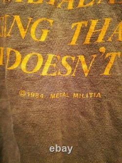 Vtg 1984 Metallica metal militia olive Gn Original sz tee M T Shirt Screen Stars