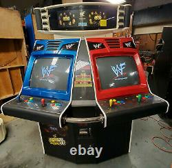 WWF ROYAL RUMBLE Full Size Fighting Arcade Video Game Machine 4 Player 2 Screens